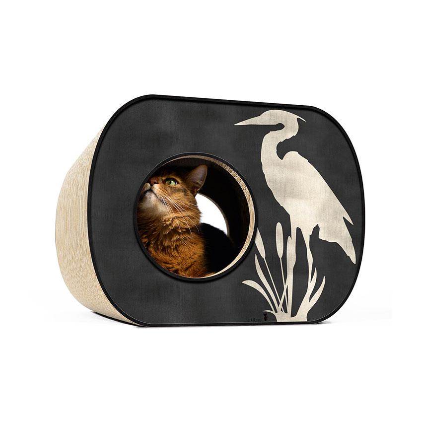 Brochhaus Junior - Farbwelt Silberkranich auf schwarz - Kratzmöbel für Katzen