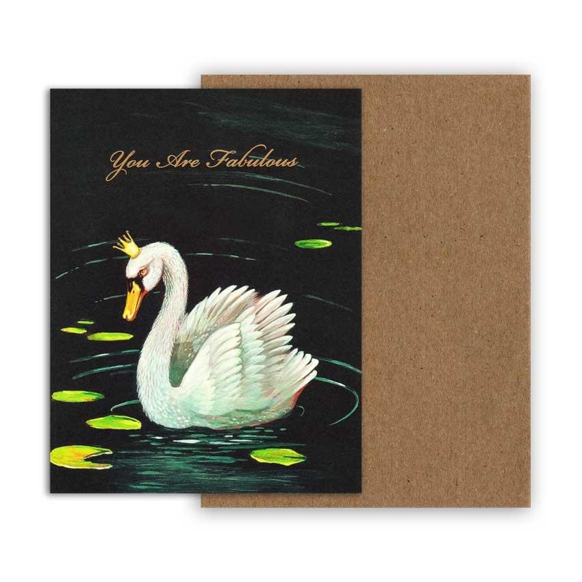 "Grußkarte ""FABULOUS SWAN"" von Hester & Cook"