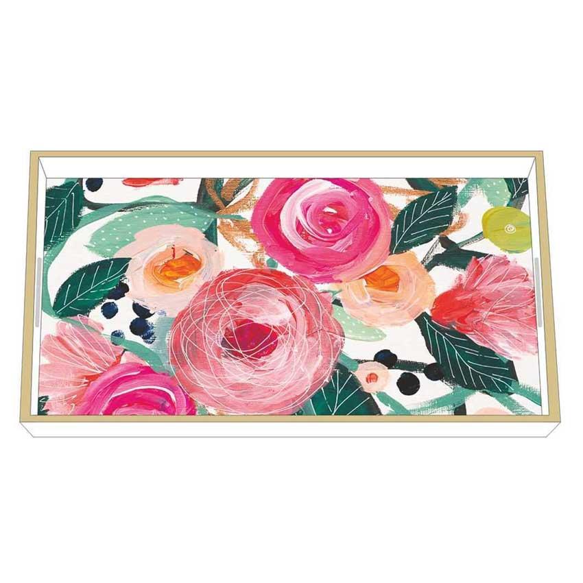 """La Belle Rose"" / Wooden Lacquer Tray - Tablett von PPD"