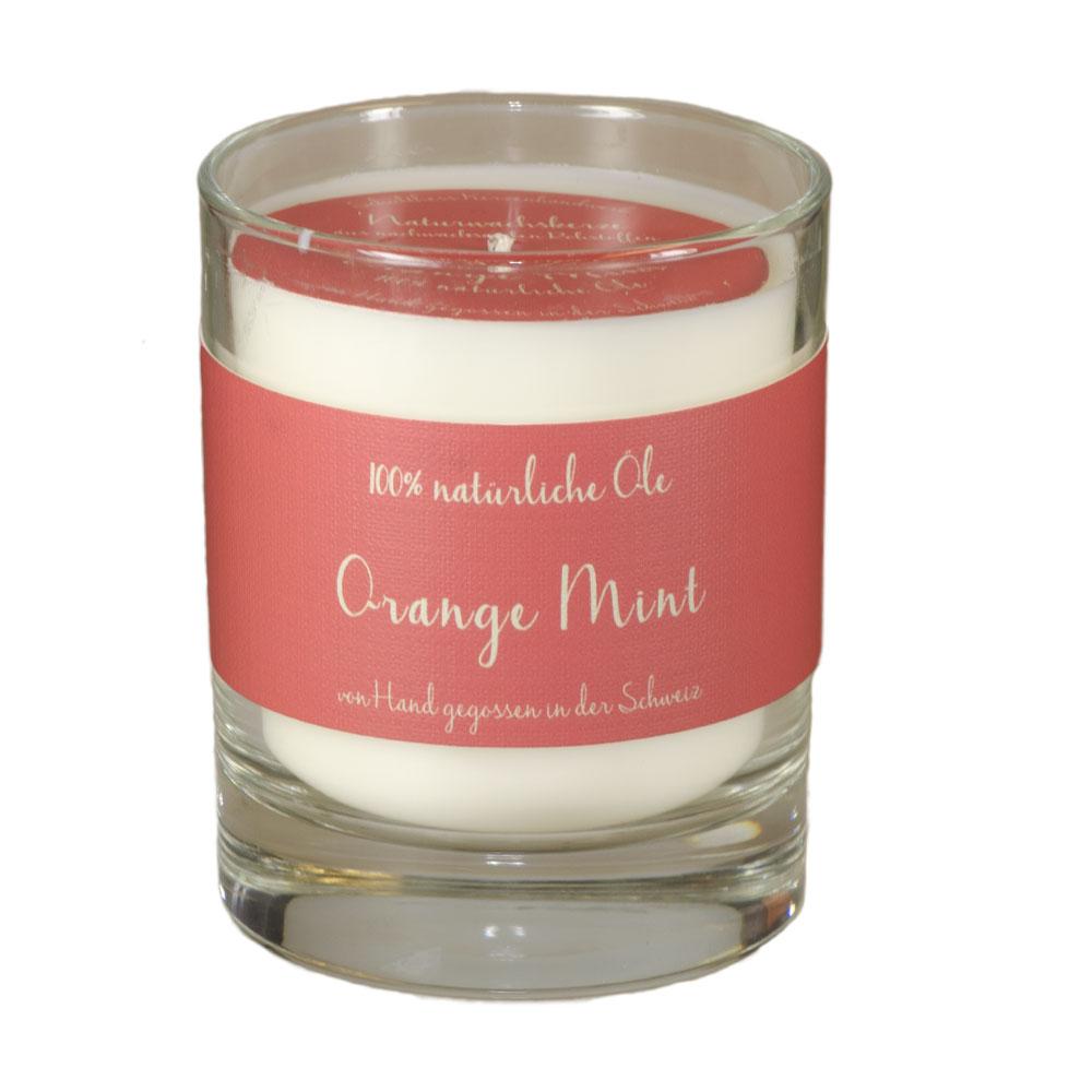 Schulthess Duftkerze Orange Mint - im Whiskyglas - mit 100% natürlichen Ölen