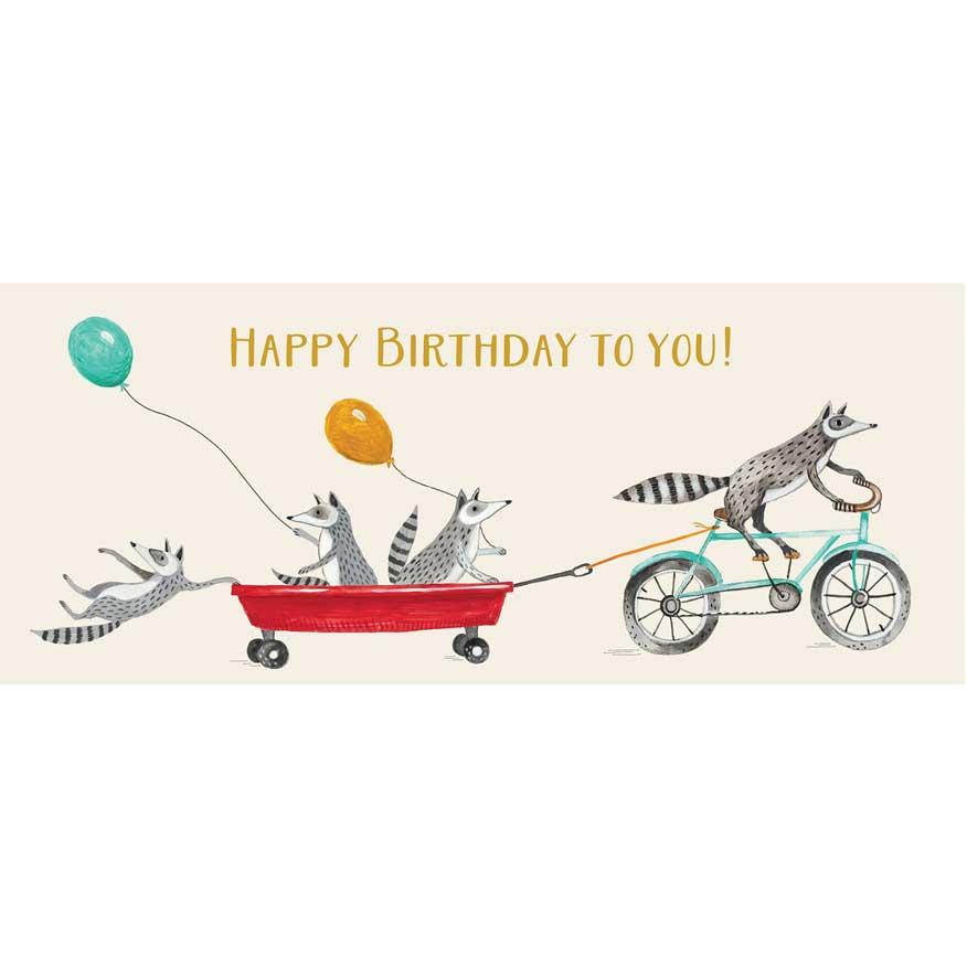"""Große Glückwunschkarte """"HAPPY BIRTHDAY RACCOONS"""" von Hester & Cook"""