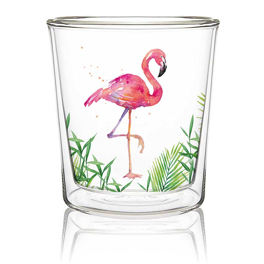 Tropical Flamingo - Double wall Trend Glas von PPD