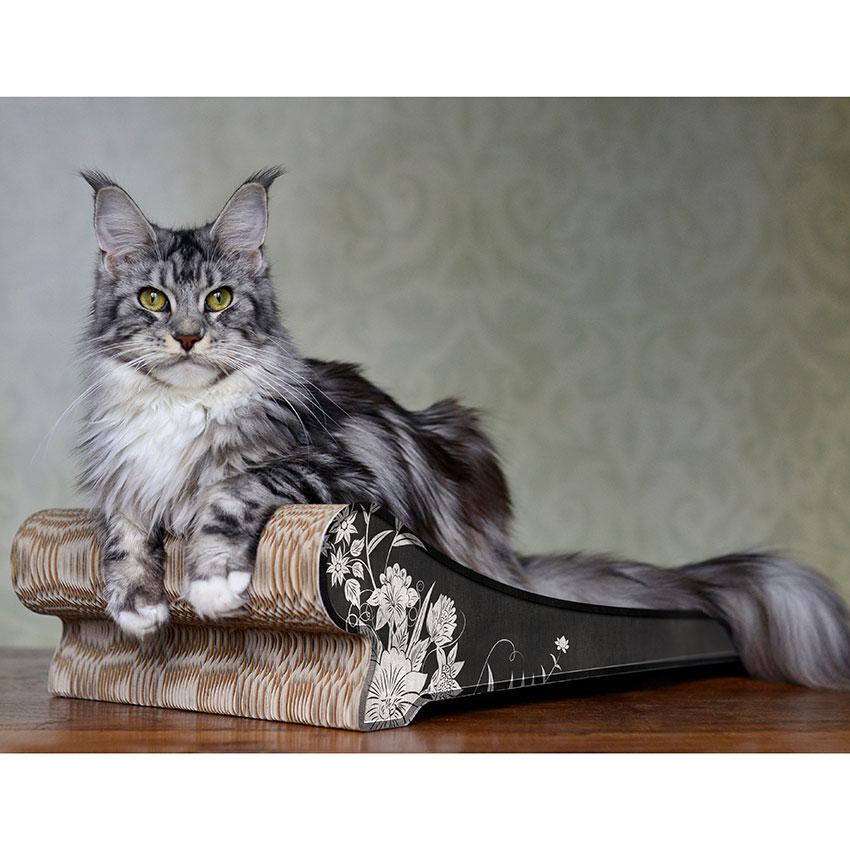Lounger - Farbwelt graue Blumen auf schwarz - Kratzmöbel für Katzen